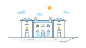 镇大厦视图变薄线 线性房子外部 镇街道场面 概述传染媒介例证 皇族释放例证