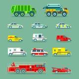 镇市政特别,紧急情况服务汽车和卡车象收藏 传染媒介在平的样式设置的城市运输 免版税库存图片