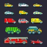 镇市政特别,紧急情况服务汽车和卡车象收藏 传染媒介在平的样式设置的城市运输 库存图片