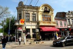镇布勒伊拉,罗马尼亚的中心 免版税图库摄影