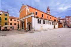 镇扎达尔,克罗地亚的市中心 免版税库存照片