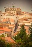 镇托萨德马尔,西班牙的全景 库存图片