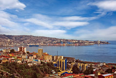 镇瓦尔帕莱索智利鸟瞰图  库存图片