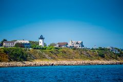 镇的海岛的俯视的看法在鳕鱼角,马萨诸塞 免版税库存照片