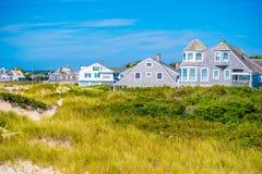 镇的海岛的俯视的看法在鳕鱼角,马萨诸塞 免版税库存图片