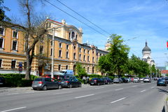 镇科鲁Napoca的中心 免版税库存图片