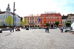 镇科鲁Napoca,特兰西瓦尼亚的中心 免版税库存照片