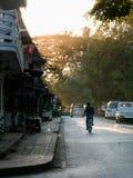 镇静城市道路的骑自行车者在日落光 免版税库存照片