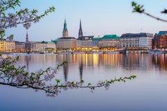 镇静阿尔斯坦河美好的全景有汉堡城镇厅的-在大厦后的Rathaus在晚上 金黄 免版税库存照片