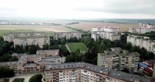 镇鸟瞰图有大厦社会主义苏联样式的多云天 大厦在苏联被修建了 的treadled 影视素材