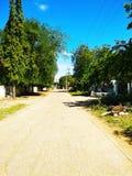 镇/村庄stree路在南印度 图库摄影