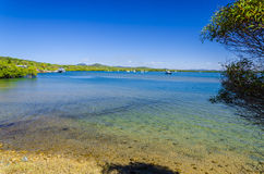 镇1770,澳大利亚的美丽的海湾 免版税库存照片
