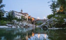 镇Kanal ob soci,斯洛文尼亚 库存照片