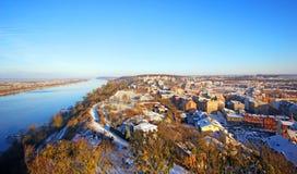 镇klimek 城市Grudziadz的全视图 库存图片