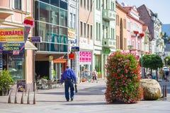 镇Ruzomberok,斯洛伐克的中心 免版税库存图片