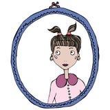 镜子框架的动画片逗人喜爱的可爱的女孩 也corel凹道例证向量 库存照片