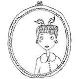 镜子框架的动画片逗人喜爱的可爱的女孩 也corel凹道例证向量 免版税库存照片