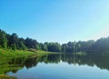 镜子湖在森林里 库存图片