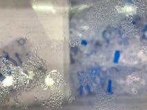 镜子玻璃顶视图有水蒸汽泡影下落湿结露的转储冰桶 免版税库存图片