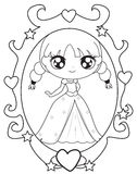 镜子着色页的公主 免版税库存照片