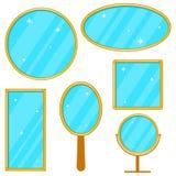 镜子,一套在金框架的现实镜子,一套镜子 库存例证