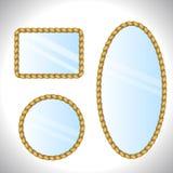 镜子 背景框架绳索白色 皇族释放例证