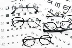 镜片和视敏度图在白色背景中 库存照片