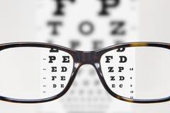 镜片在optometric考试期间 免版税库存照片