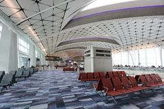 镭中场广场在HK国际机场 免版税库存图片