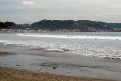 镰仓,日本海岸线  库存照片
