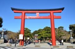镰仓,日本- 2016年12月:一个巨型花托门 免版税图库摄影