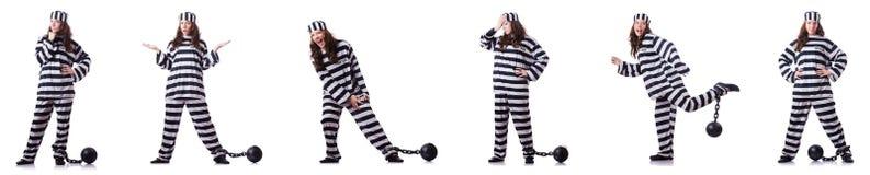 镶边制服的囚犯在白色 免版税库存图片