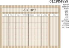 镶边棕色几个月的背景和名字的月度计划者 库存照片