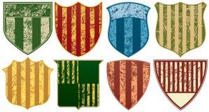 镶边的八grunge盾 免版税图库摄影