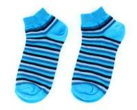 镶边的蓝色袜子 免版税库存图片