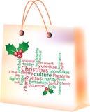 镶边的袋子蓝色圣诞节销售额购物雪花 库存图片