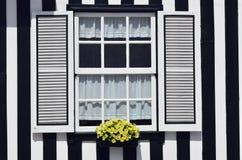 镶边色的房子,肋前缘新星,贝拉Litoral,葡萄牙, Eur 免版税库存图片
