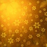 镶边花在棕色老纸背景中 免版税库存图片
