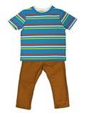 镶边蓝色T恤杉和芥末牛仔裤 图库摄影