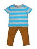 镶边蓝色T恤杉和芥末牛仔裤 库存照片