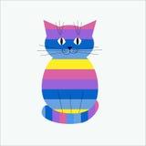 镶边装饰风格化猫 免版税图库摄影