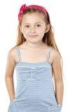 镶边sundress的小女孩 库存照片