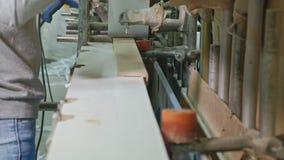 镶饰木空白的过程,木门的生产 股票视频