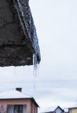 长冰柱垂悬 免版税库存照片