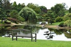 长凳俯视的池塘 图库摄影