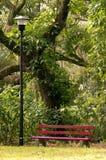 长凳公园红色 免版税库存照片