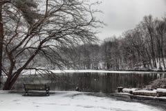 长凳冬天 图库摄影