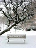 长凳冬天 免版税库存图片
