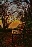 长凳和日落 库存照片