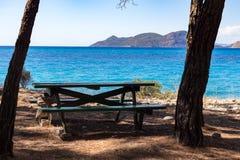 长凳和桌在一棵树附近在海滩有海视图 库存图片
